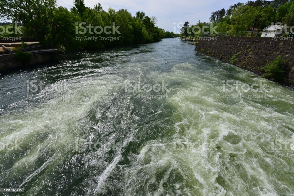 Rapids at the  Augusta canal at Augusta in Georgia stock photo