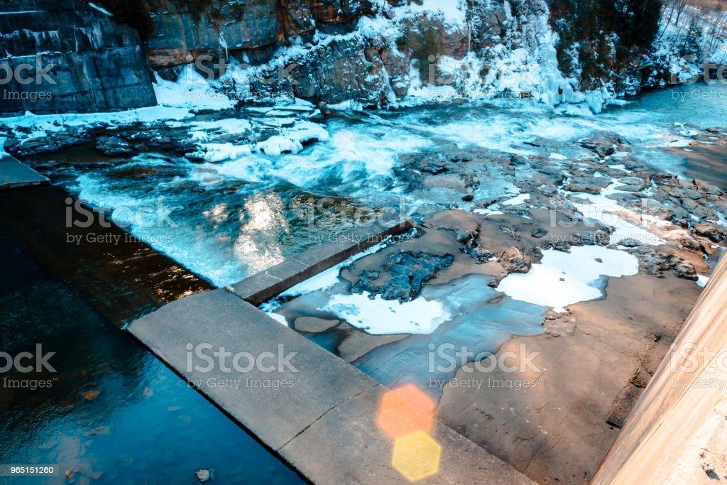 Rapids behind the dam at Yellow Creek Park zbiór zdjęć royalty-free
