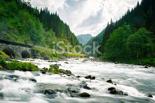 Scandinavia, Norway, Valley, Overcast - Rapids surging down a valley in Norway