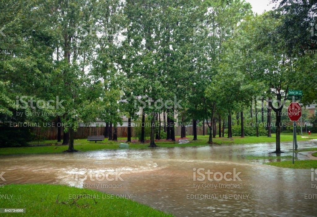 Rapids in the Floodwaters in Suburban Houston from Hurricane Harvey stock photo