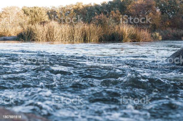 Photo of Rapids small river, strong current water flowing among stones, beautiful nature