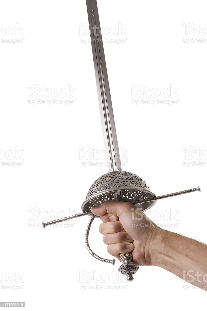 Rapier style sword and hand isolated stock photo