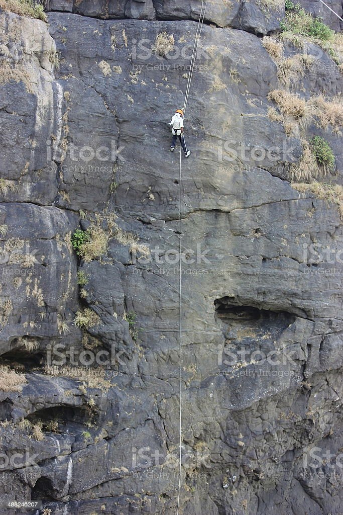 Rappelling stock photo