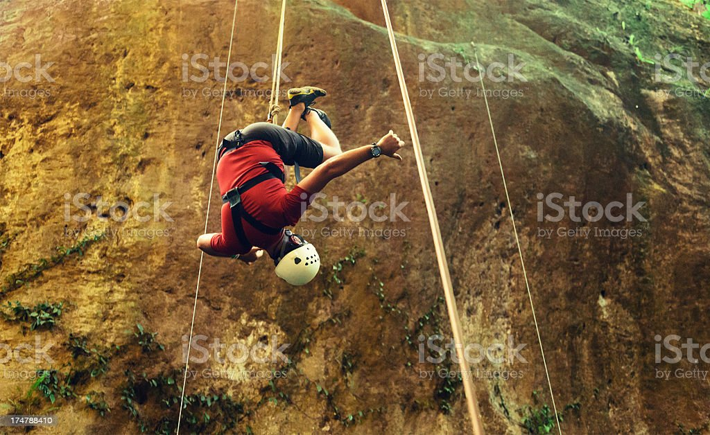 rappelling tour in costa rica stock photo