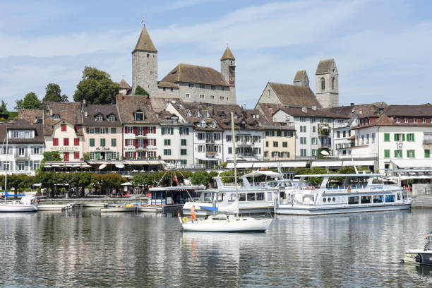 Rapperswil as seen from lake Zurich on Switzerland stock photo