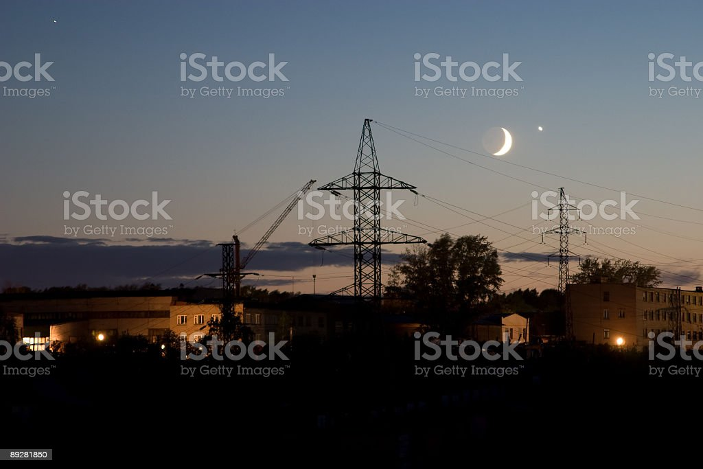 Rapproachement of Venus and Moon. stock photo
