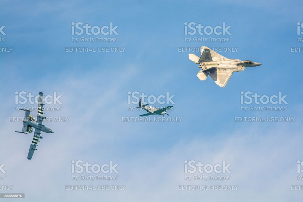 F-22 Raptor P-51 Mustang A-10 Thunderbolt II stock photo