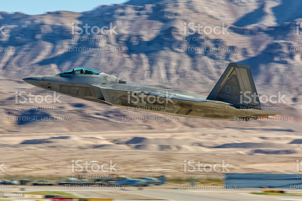 F-22 Raptor performs flyby during Aviation Nation stock photo