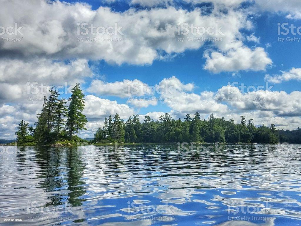 Raquette Lake Cloud, Sky, Island Trees Reflection, Adirondacks, New York stock photo