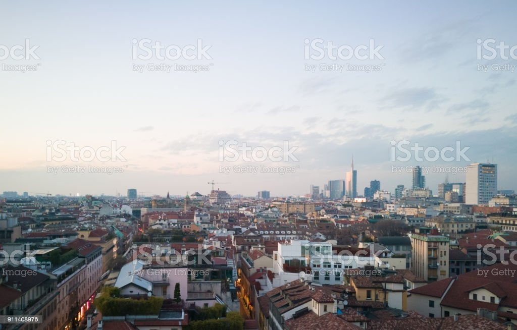Rare aerial photo of Milan, Italy stock photo