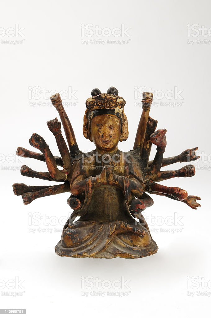 Rare antique Chinese lacquer statue of Avalokiteshvara, Mercy Buddha royalty-free stock photo