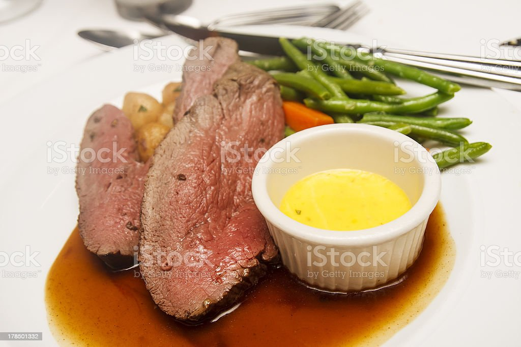 Rare Beef with Two Sauces stock photo