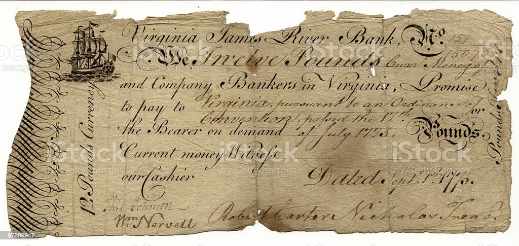 Rare Colonial Broken Bank Note royalty-free stock photo