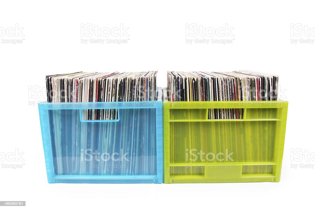 Rare records in two plastic boxes stock photo