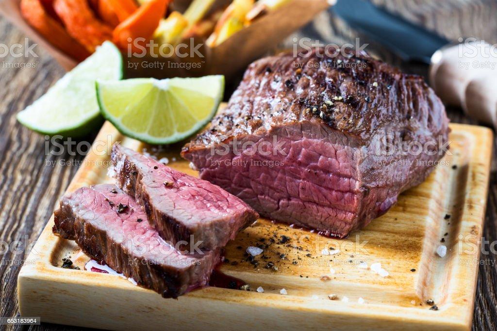 Rare roast beef sirloin stock photo
