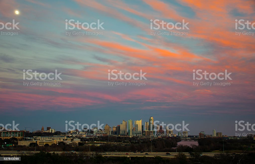 Rare Side Angle Austin Texas Skyline with Red blue Stripes stock photo