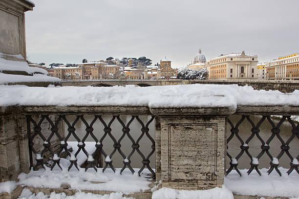 Rare snowfall in Rome. stock photo
