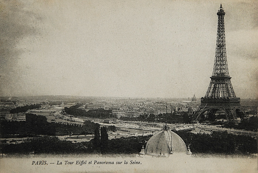 Rare vintage postcard with view on Eiffel Tower in Paris, France, circa 1900