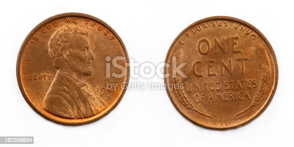Rare 1909 S VDB Wheat penny isolated on white.