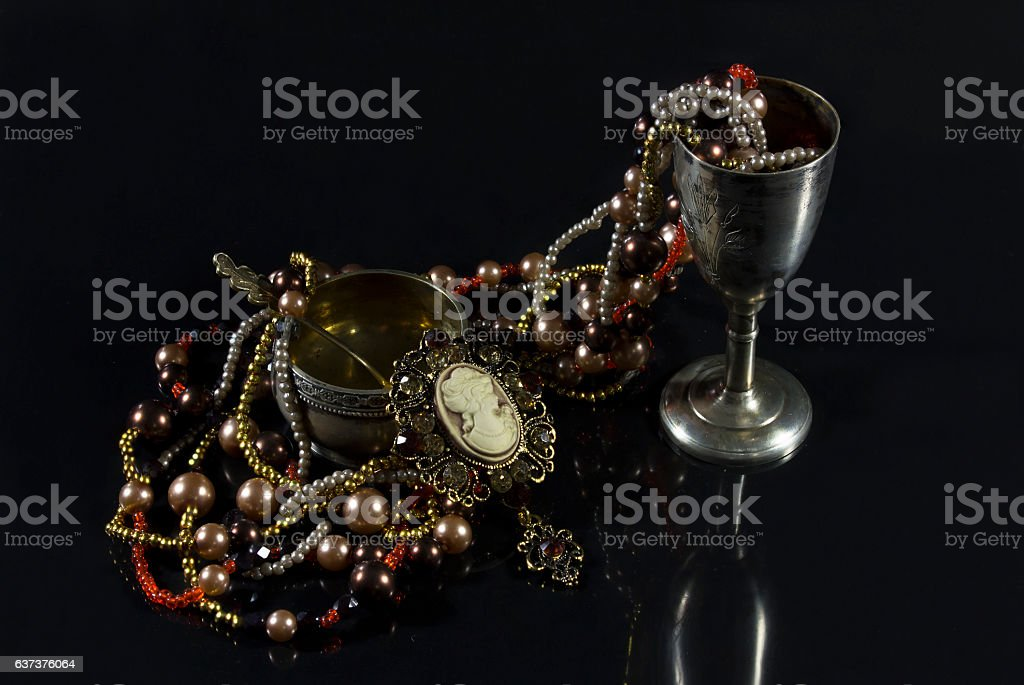 Rarity tableware with jewelry. stock photo
