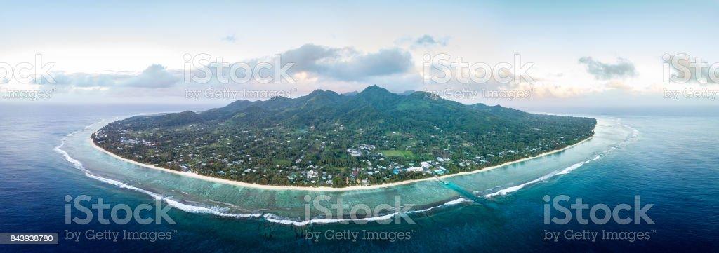 Rarotonga Polynesia Cook Island tropical paradise aerial view stock photo