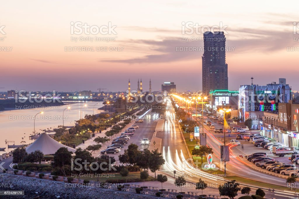 Ras al Khaimah creek at night Lizenzfreies stock-foto