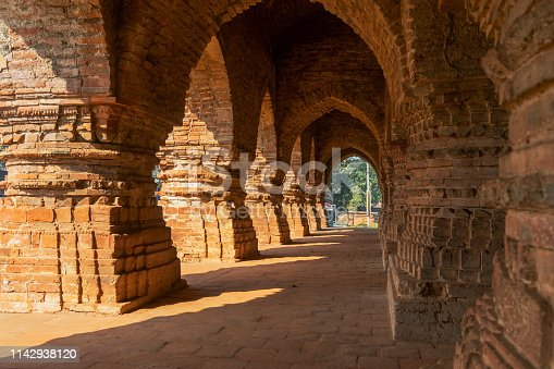 Arches of Rasmancha, oldest brick temple of India -tourist attraction in Bishnupur, West Bengal, India. Terracotta-burnt clay-structure is unique. Hindu deities were worshipped here in Ras festival.