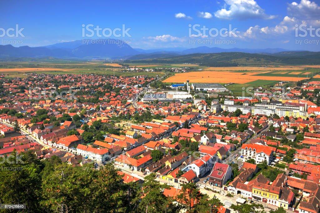 Rasnov city, Romania stock photo
