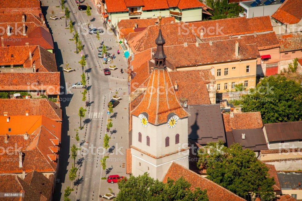 Rasnov main street stock photo