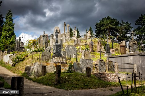 Vilnius , Lithuania - August 13, 2015:Old graves on the hill in historic Rasos Cemetery is the oldest and most famous cemetery in the city of Vilnius, Lithuania