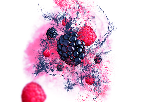 istock Raspberries and blackberries falling from the air on white background with fruit juice. 1181880314