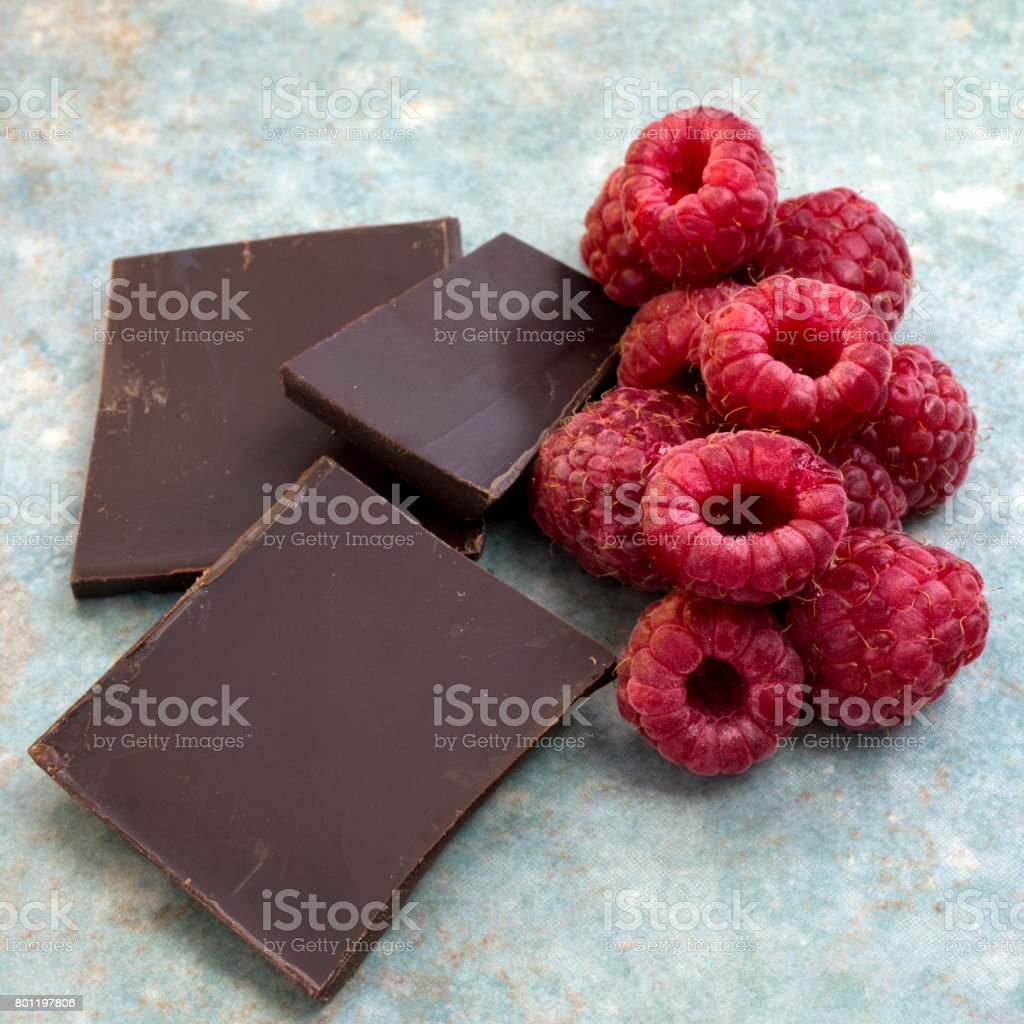 Raspberries and Dark Chocolate stock photo