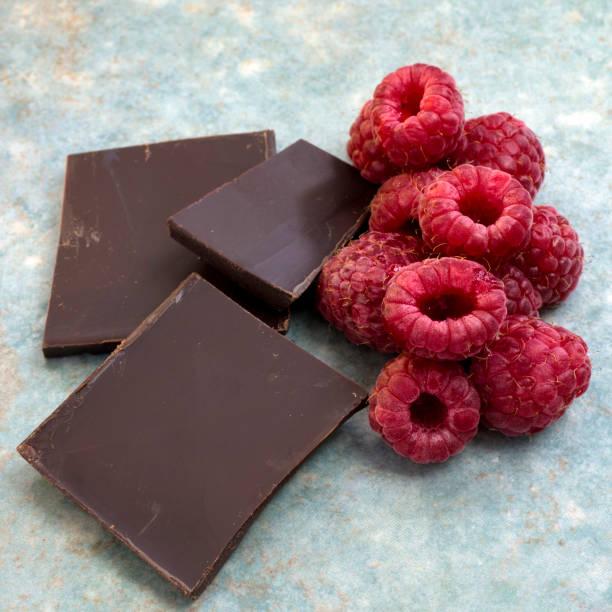 Raspberries and Dark Chocolate stock photo