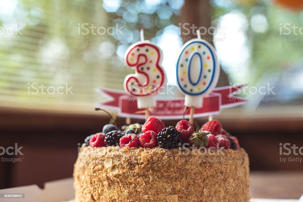 Raspberries Blackberry Birthday Cake With Candles Number