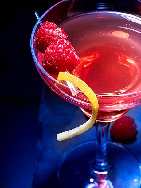 Raspberries cocktail on black background – Foto