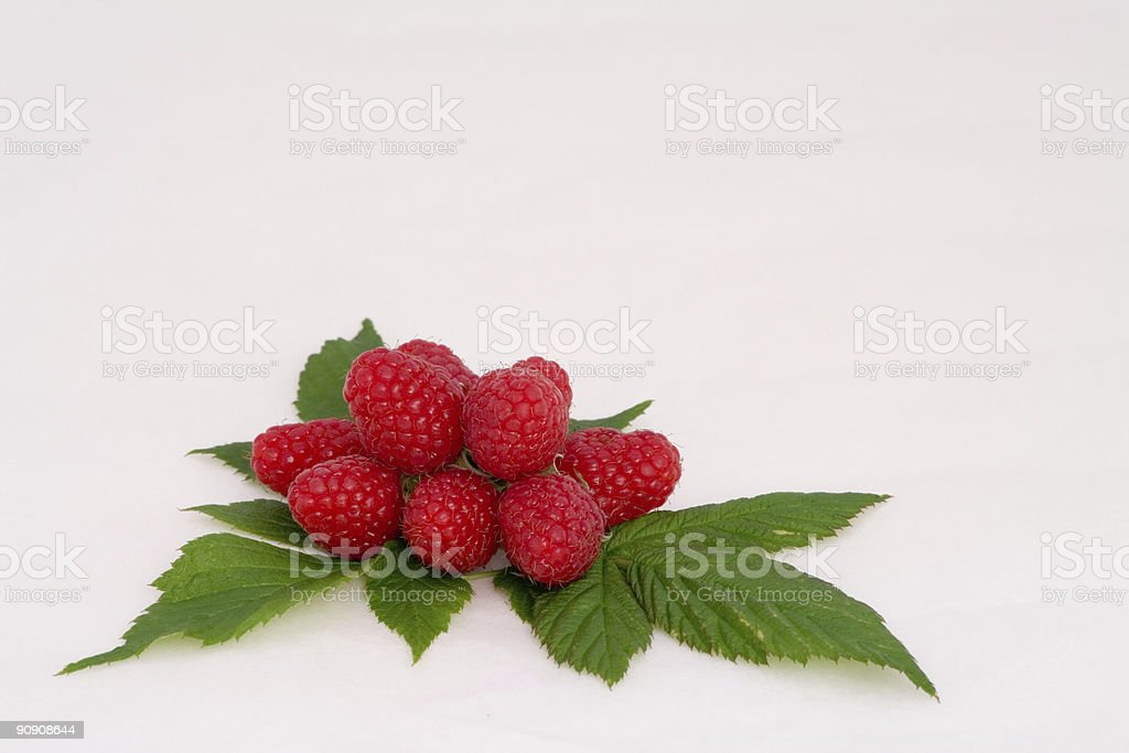 Raspberries composition with leafs royalty-free stock photo