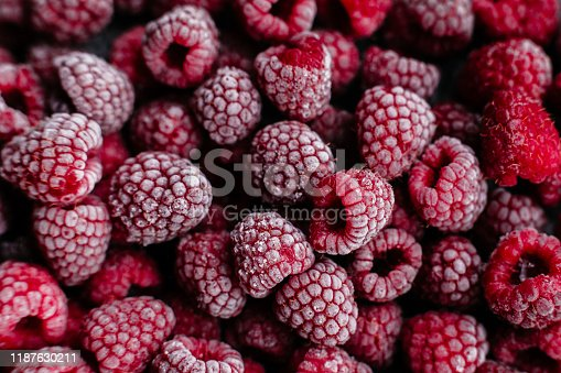 istock Raspberries, frozen raspberries, berries covered with hoarfrost. Background.Raspberry Background.Macro Raspberry Pink Background 1187630211