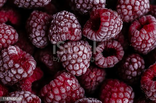 istock Raspberries, frozen raspberries, berries covered with hoarfrost. Background.Raspberry Background.Macro Raspberry Pink Background 1187630248