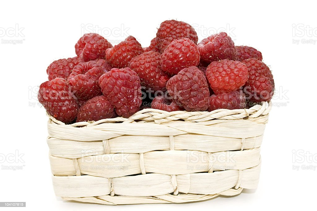 Raspberries in a basket. royalty-free stock photo