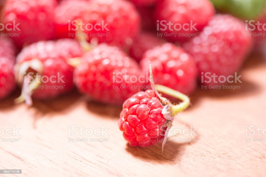 Raspberries in close-up royalty-free stock photo