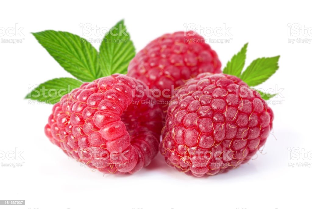 Raspberries isolated on a white background stock photo