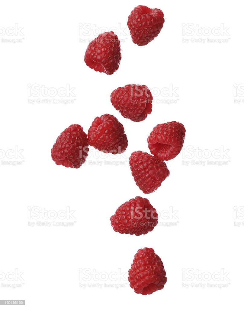 Raspberries isolated on white background, close-up stock photo