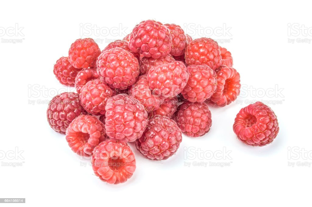 Raspberries isolated on white background cutout, close-up foto stock royalty-free
