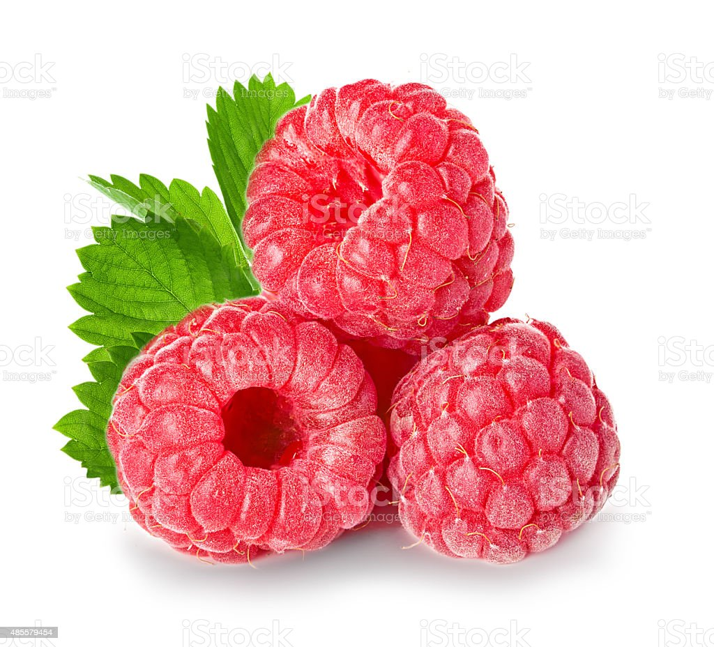 Raspberries isolated on white background. stock photo