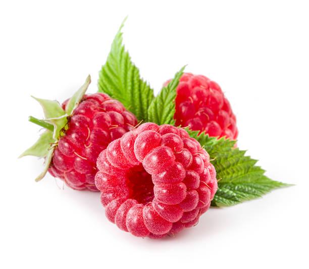raspberries isolated on white - hallon bildbanksfoton och bilder