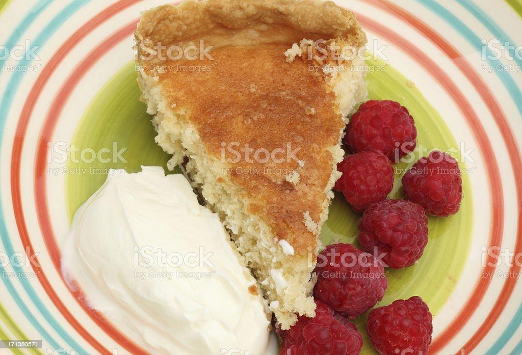 Raspberries, pudding and ice cream stock photo