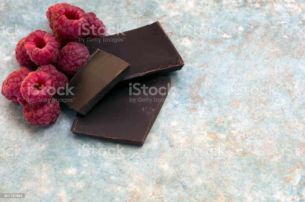 Raspberries with Copy Space stock photo