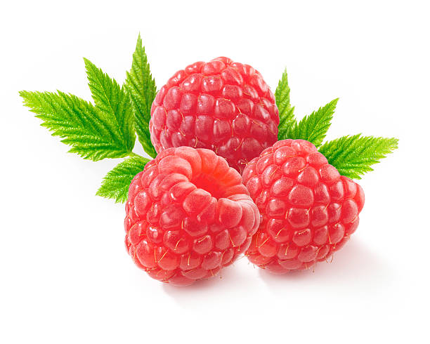 Raspberries with Leafs stock photo