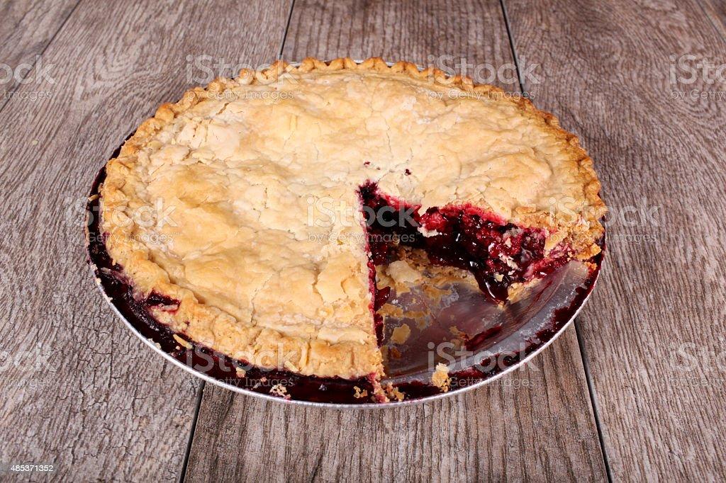 Raspberry and Blackberry pie stock photo