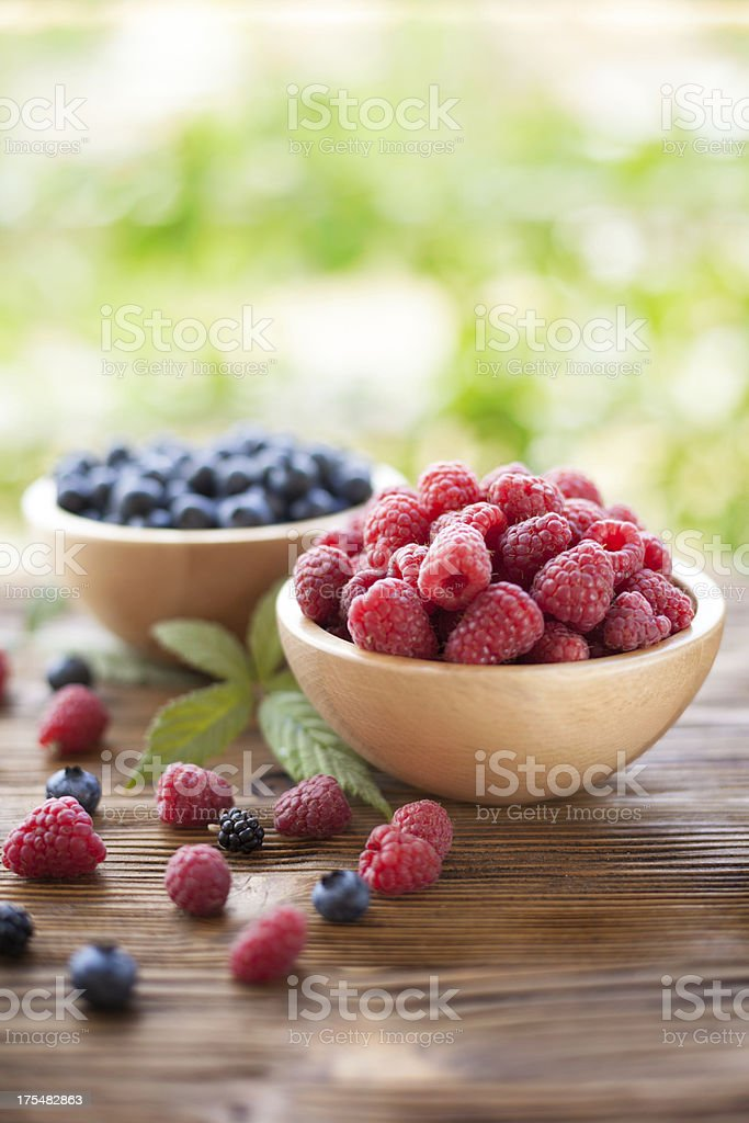 Raspberry and  blueberry stock photo